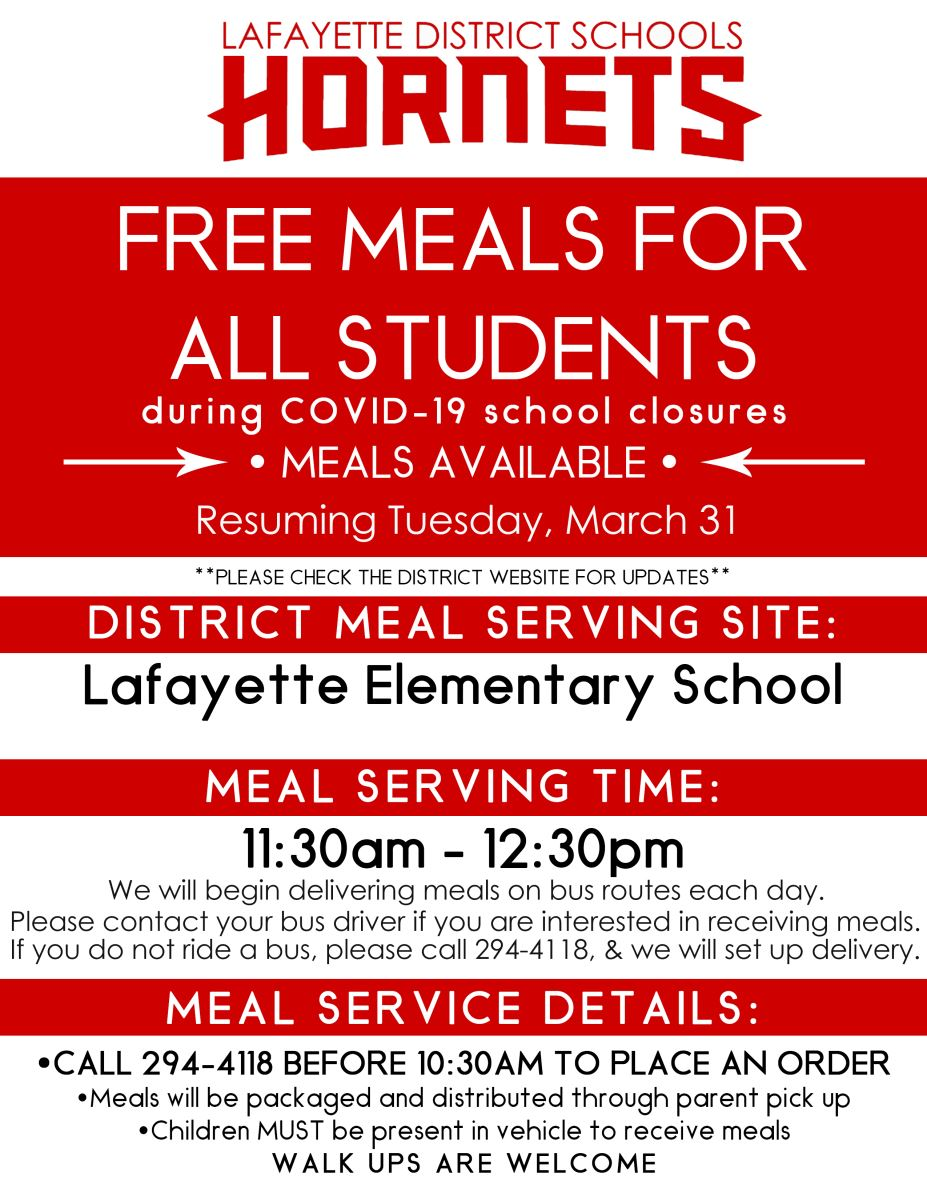 Free meals for all students are available.  Call 294-4118 to by 10:30 to order.  Pick up begins in the LES bus loop at 11:30.  Lunches will also be delivered by bus.  Contact your bus driver or 294-4118 if you are interested in lunches being delivered to you.